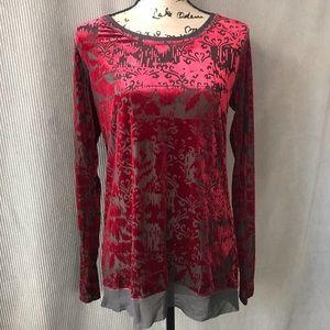 VERA WANG burnout red velvet sheer tunic blouse